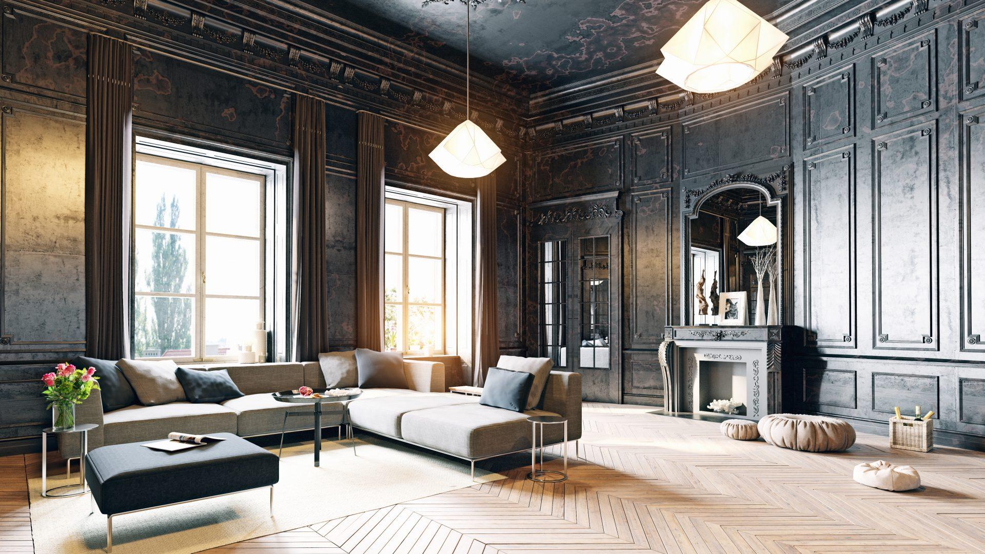 Altmodisches und modernes Wohnzimmer mit Parkett